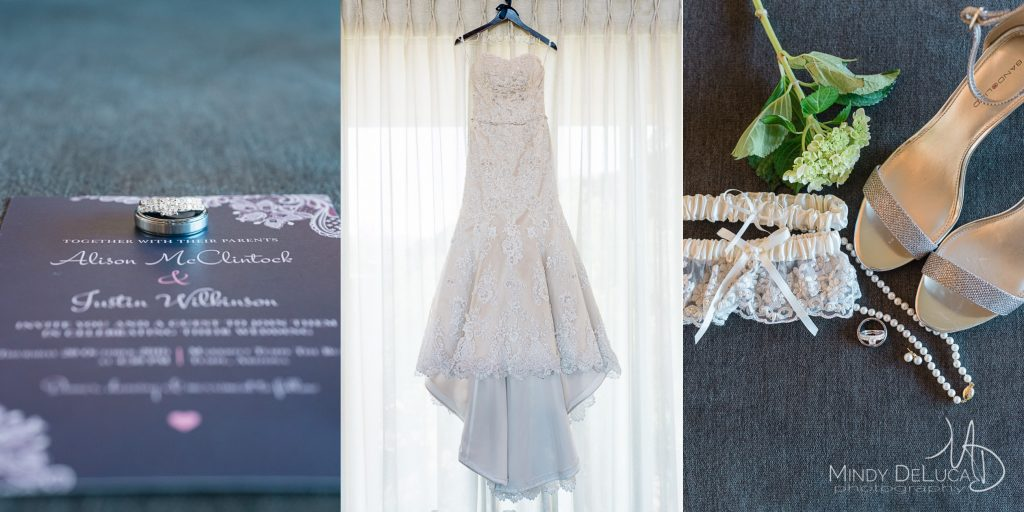 Wedding dress, rings, blue invitations