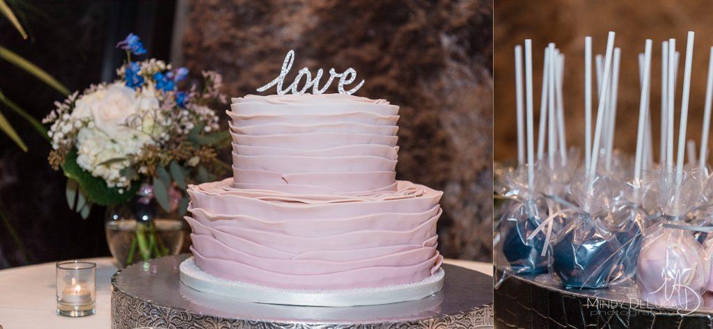 Love sign blush wedding cake