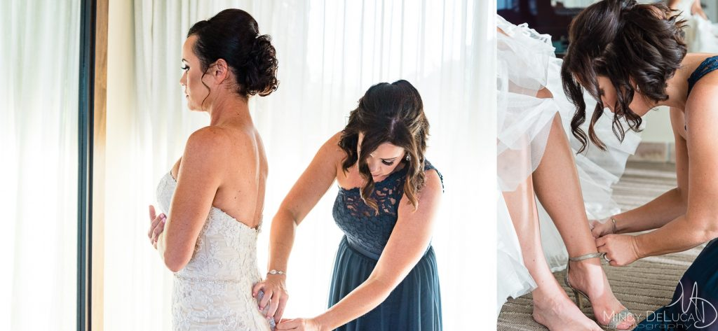 Maid of honor helps bride