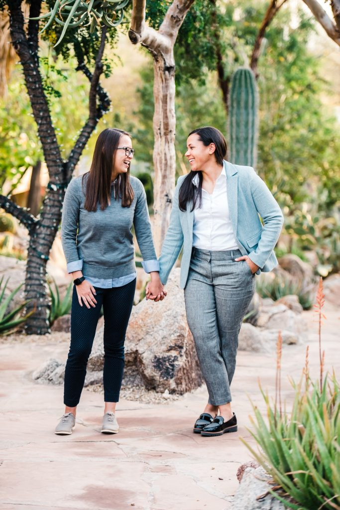 Same Sex Female Couple in desert garden