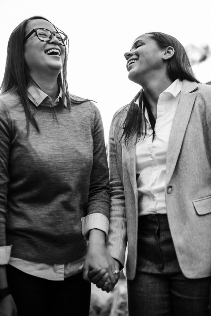 Black & white of Same Sex Female Couple