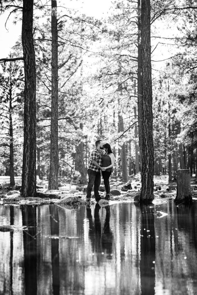 romantic forest engagement photos