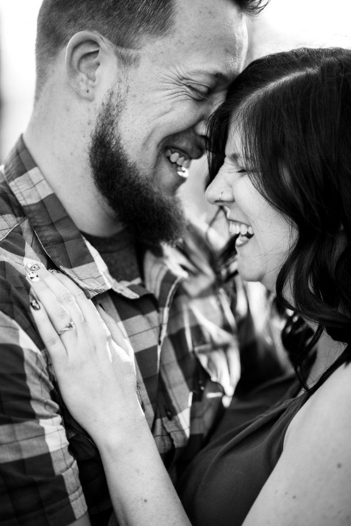 fun black&white engagement