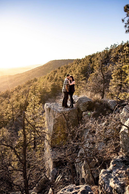 epic cliff sunset engagement photo