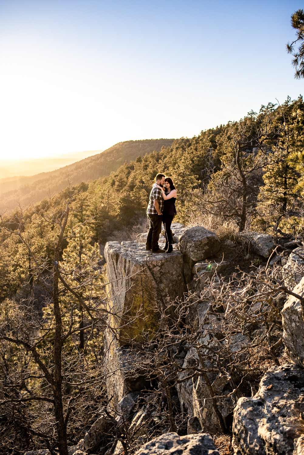 epic cliff sunset engagement photo