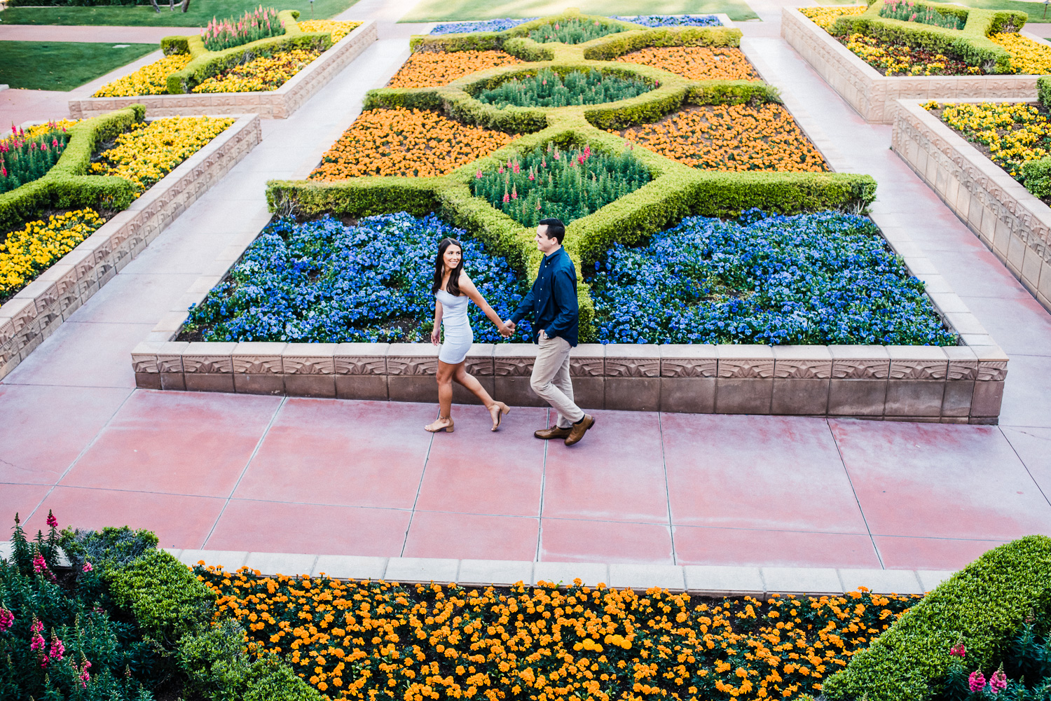 Biltmore Flower Garden Engagement Photo
