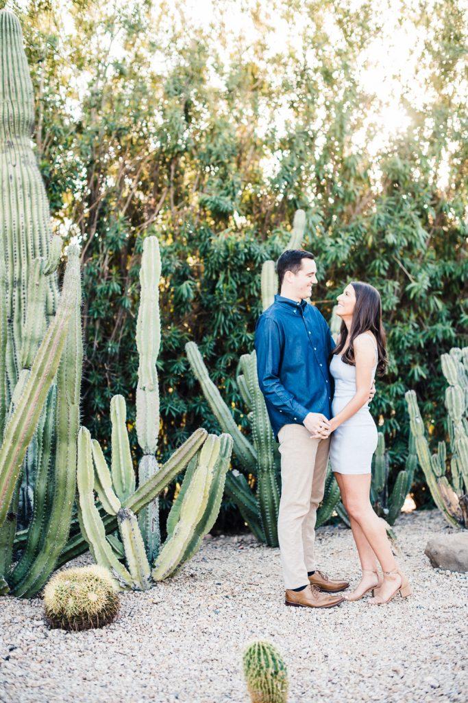 AZ Cactus Garden Engagement Photo