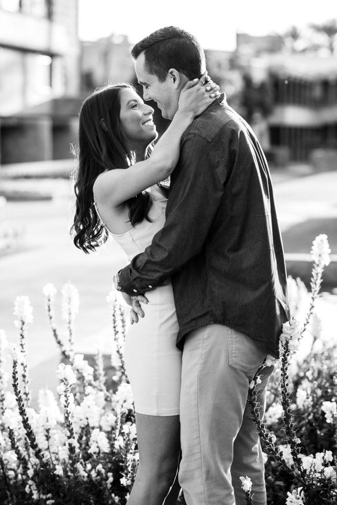 Romantic black & white engagement photo