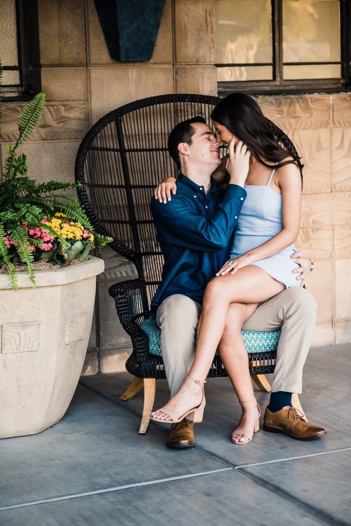 romantic resort engagement photo