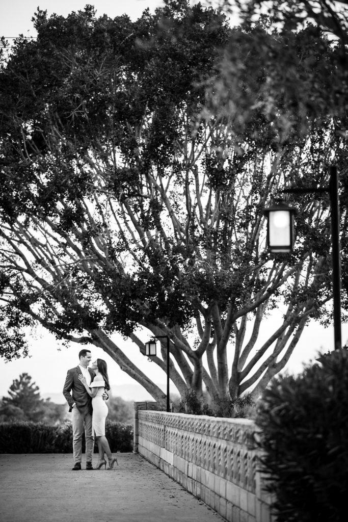 Classy black & white engagement photo