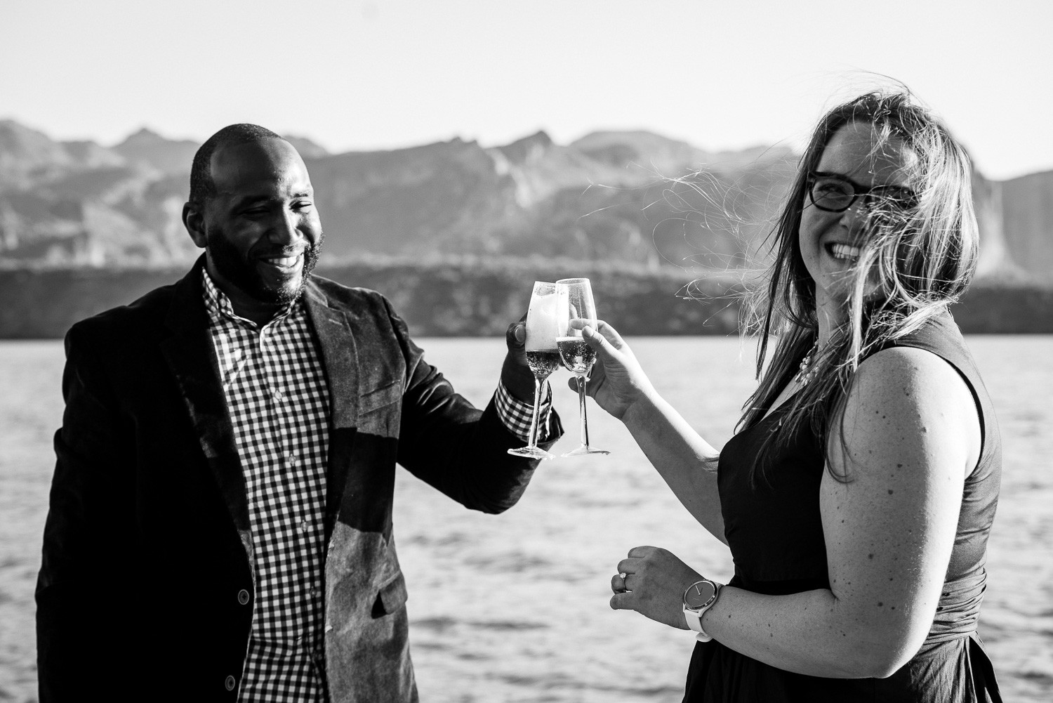 Candid Arizona Lake Engagement Photo