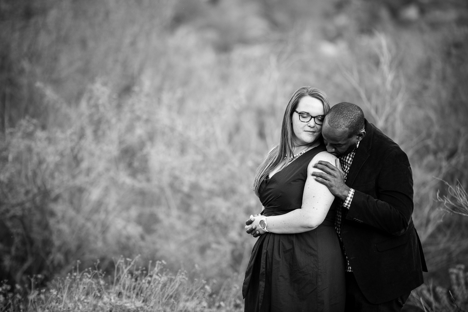 Romantic black & white engagement photo