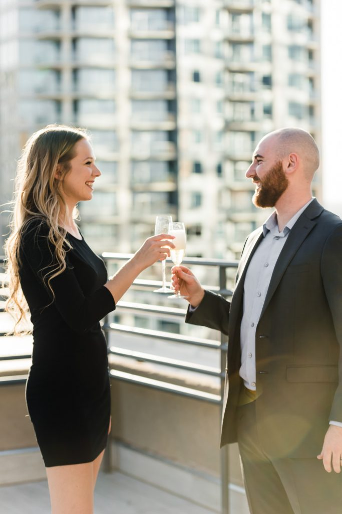 champagne cheers celebrate engagement