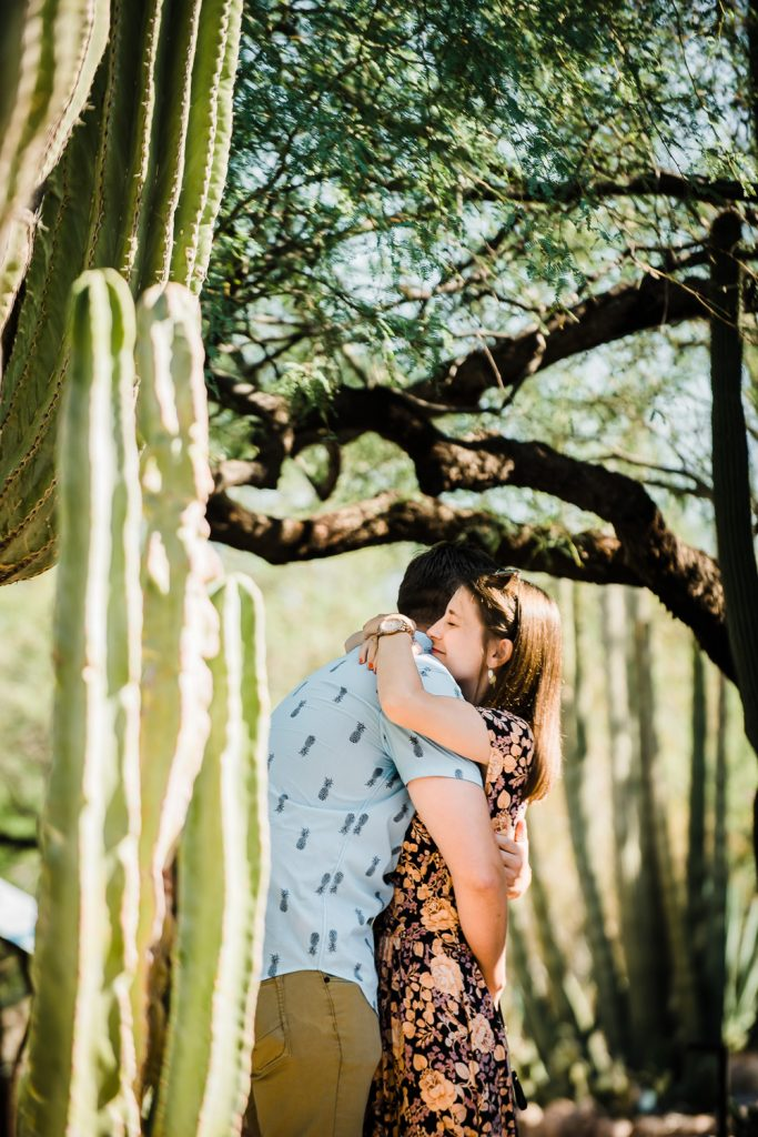 Marriage proposal at Desert Botanical Gardens