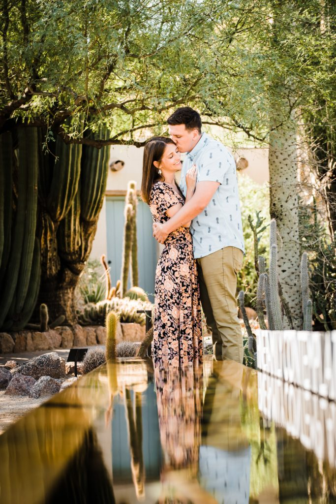 Desert botanical gardens engagement photo water reflection