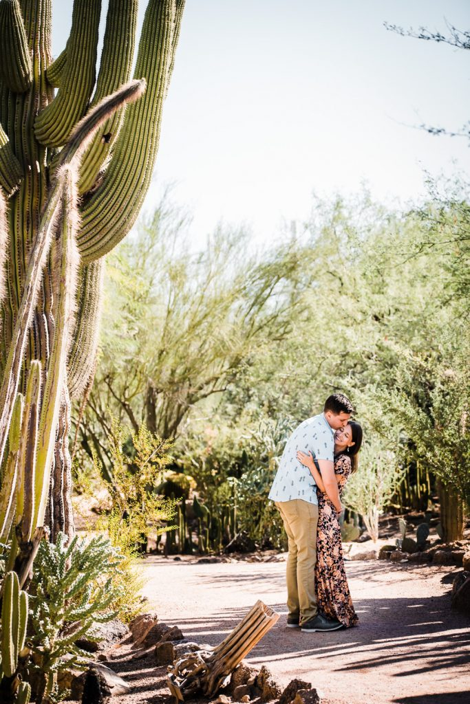 Cute botanical garden engagement photo