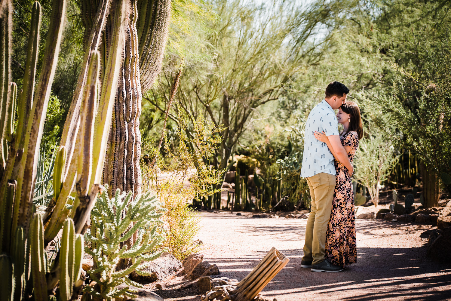 Sweet desert botanical garden engagement