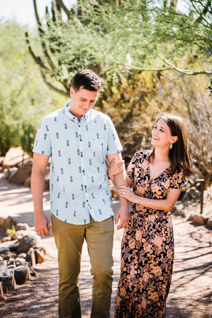Fun desert botanical garden engagement