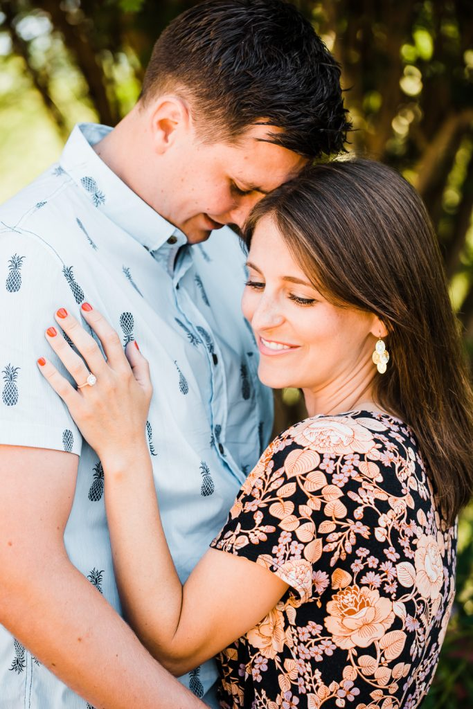 Cute engagement photos at the botanical garden