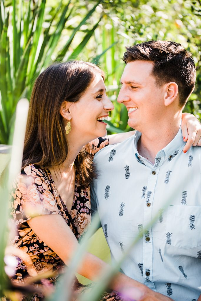 Fun engagement photos at desert botanical garden