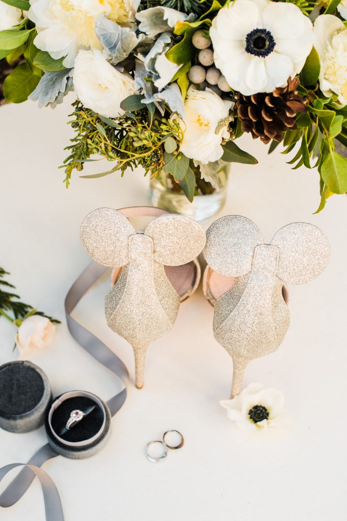 Mickey Mouse bridal heels fairy tale details