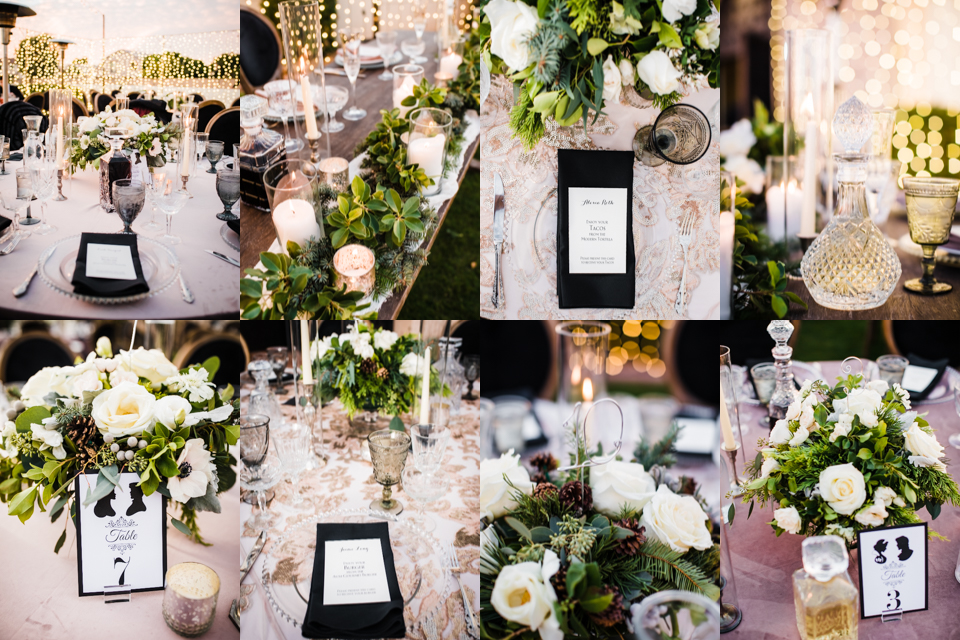 Timeless wedding table details with crystal and velvet linens