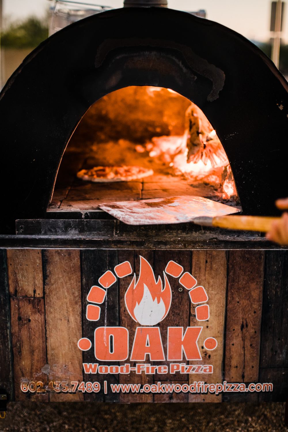 Wood fired pizza oven for wedding