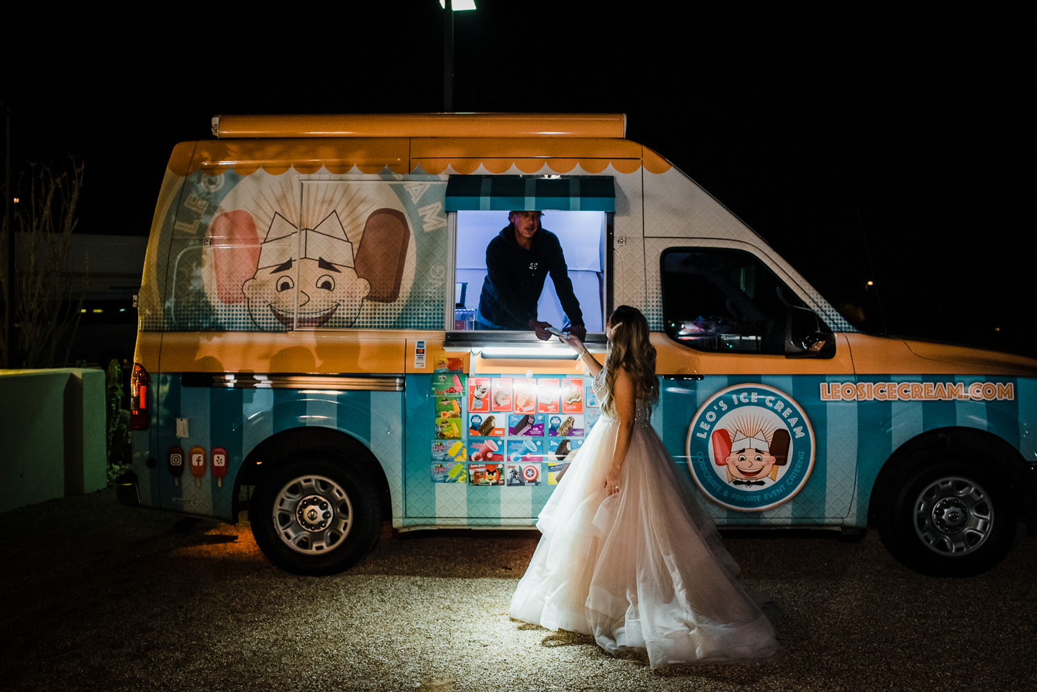 Bride gets treat from ice cream truck