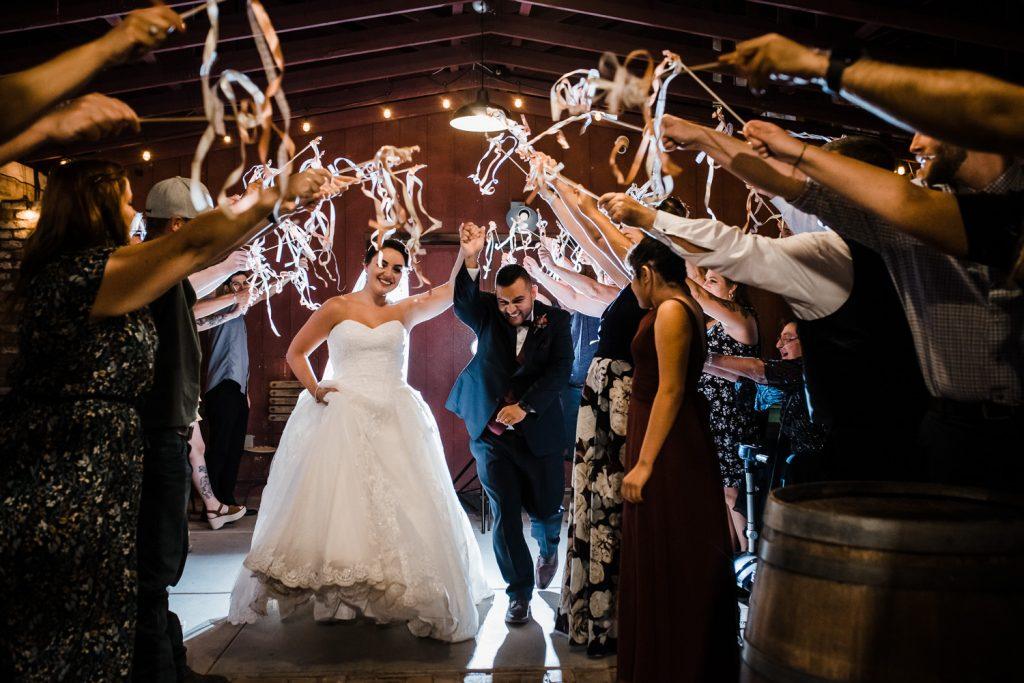 Windmill Winery Barn Wedding Streamer Exit