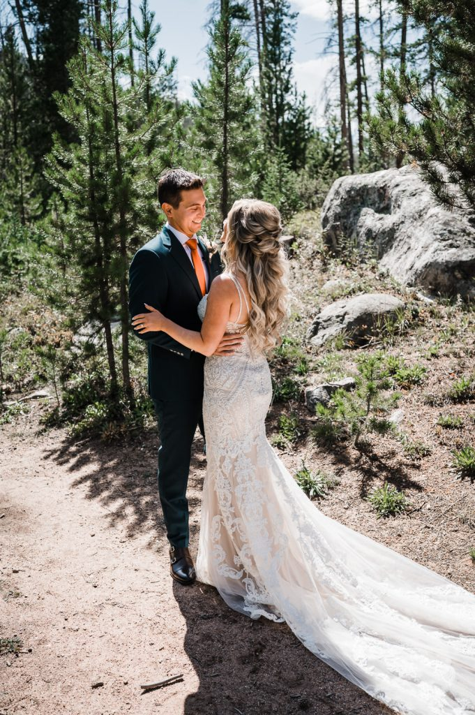 Groom sees Bride during first look Vail CO